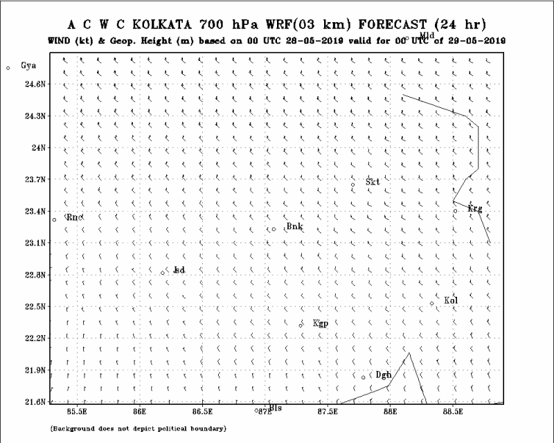 700 HPa Wind and GPM